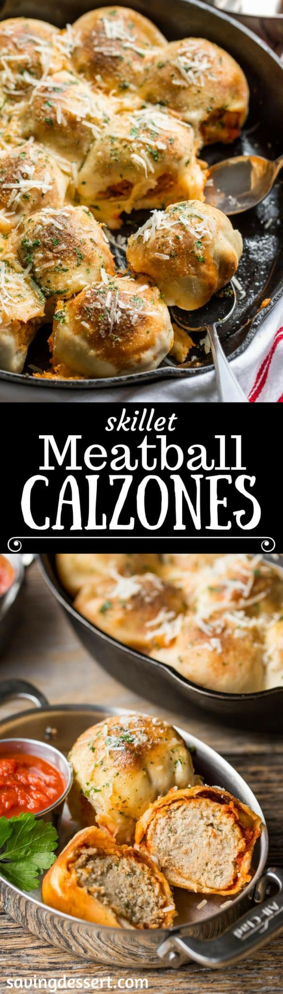 Skillet Meatball Calzones with Herbed Butter Sauce. Calling all calzone, pizza and meatballs lovers, have we got the perfect recipe for you! savingdessert.com #pizza #calzone #meatball #appetizer #savingroomfordessert
