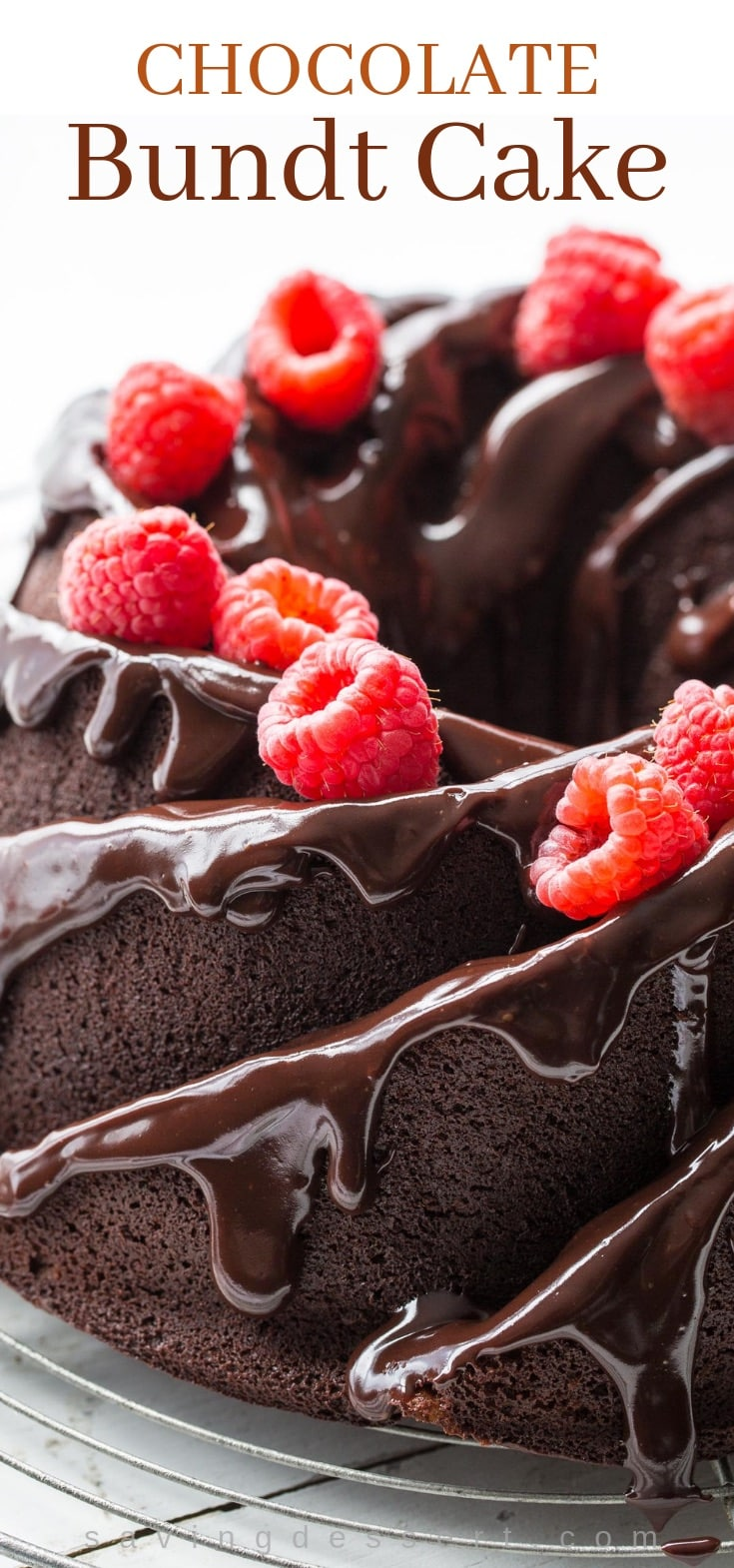 A rich chocolate bundt cake with a chocolate icing and fresh raspberries