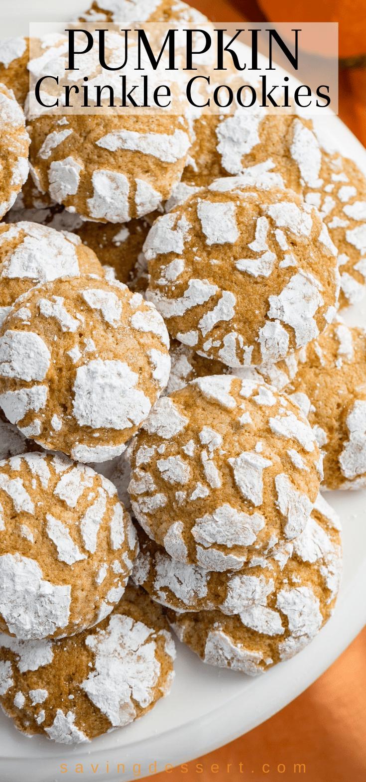 An overhead view of a platter of Pumpkin Crinkle Cookies