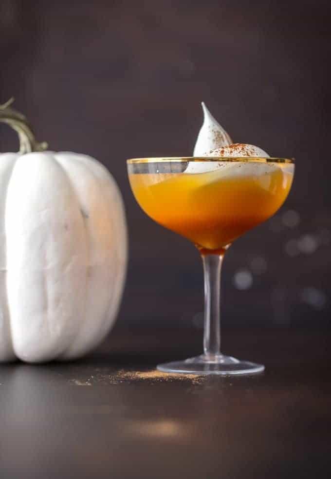 A glass of pumpkin pie punch
