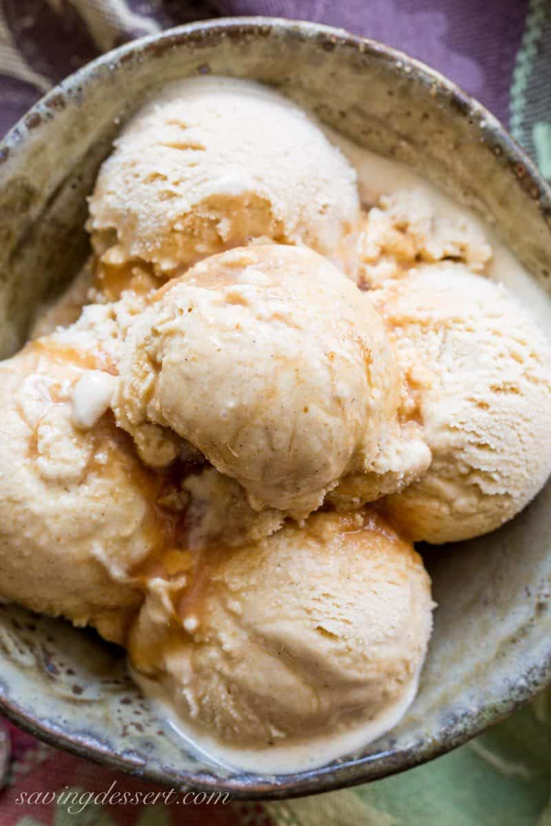 Apple Cider Ice Cream with Cinnamon ~ pucker up peeps!  If you love a tart apple, and sweet dreamy ice cream, you've come to the right place! www.savingdessert.com #savingroomfordessert #icecream #applecider #cider #appleicecream #apple