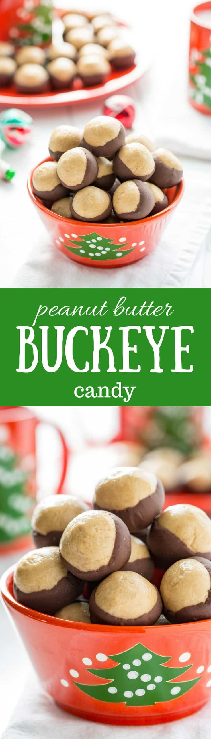Peanut Butter Buckeye Candy ~ creamy, sweet peanut butter dough balls are partially dipped in chocolate to mimic the fruit of the Ohio Buckeye tree. www.savingdessert.com #savingroomfordessert #buckeyes #peanutbutterballs #christmascandy #buckeye