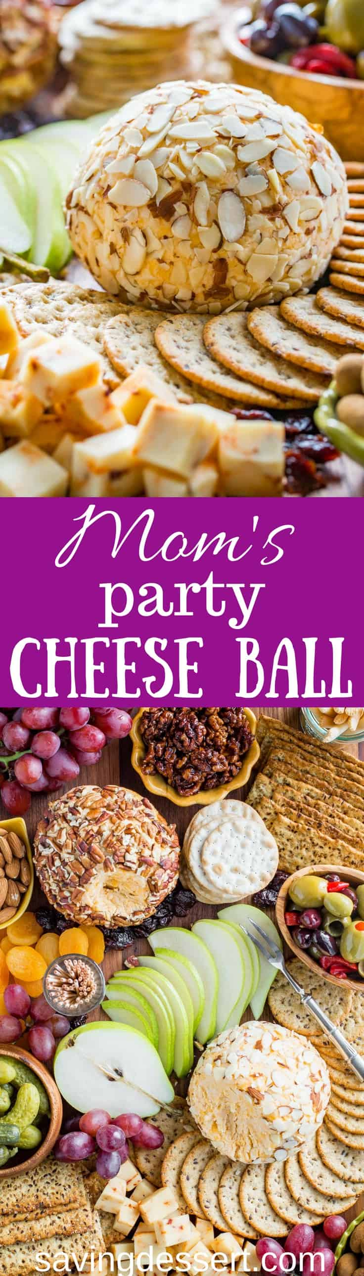 Mom's Party Cheeseball ~ every party needs an easy and delicious cheese ball made with cream cheese, mild and sharp cheddar cheese and a few spices. An easy make ahead appetizer that holds up wonderfully for hours and is great served with crackers, bread, fruit and nuts. www.savingdessert.com #cheeseball #appetizer #savingroomfordessert #partyappetizer