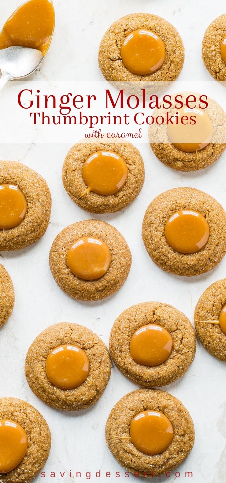 A tray of ginger molasses cookies filled with caramel