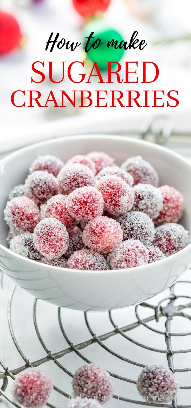 A bowl of sugared cranberries used for garnishing baked goods