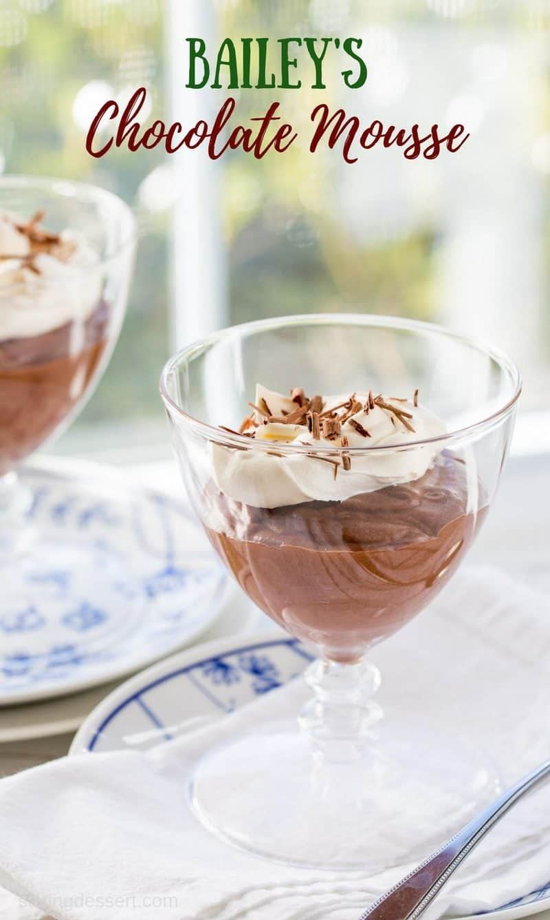 Bailey's Chocolate Mousse - light, creamy, airy and rich our chocolate mousse spiked with Bailey's Irish Cream is a lovely make-ahead dessert perfect for dinner parties or romantic evenings at home. www.savingdessert.com #savingroomfordessert #bailey's #irishcream #chocolatemousse #mousse #chocolate #dessert