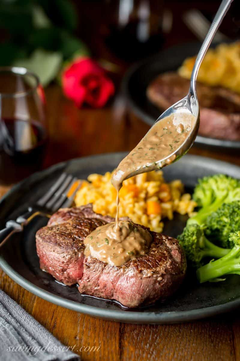 Tender and juicy Beef Tenderloin Steaks drizzled with a Herb Pan Sauce
