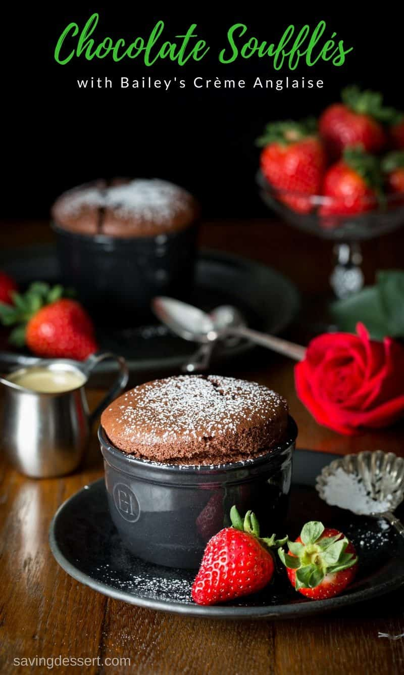 chocolate soufflés with fresh strawberries and a creamy sauce
