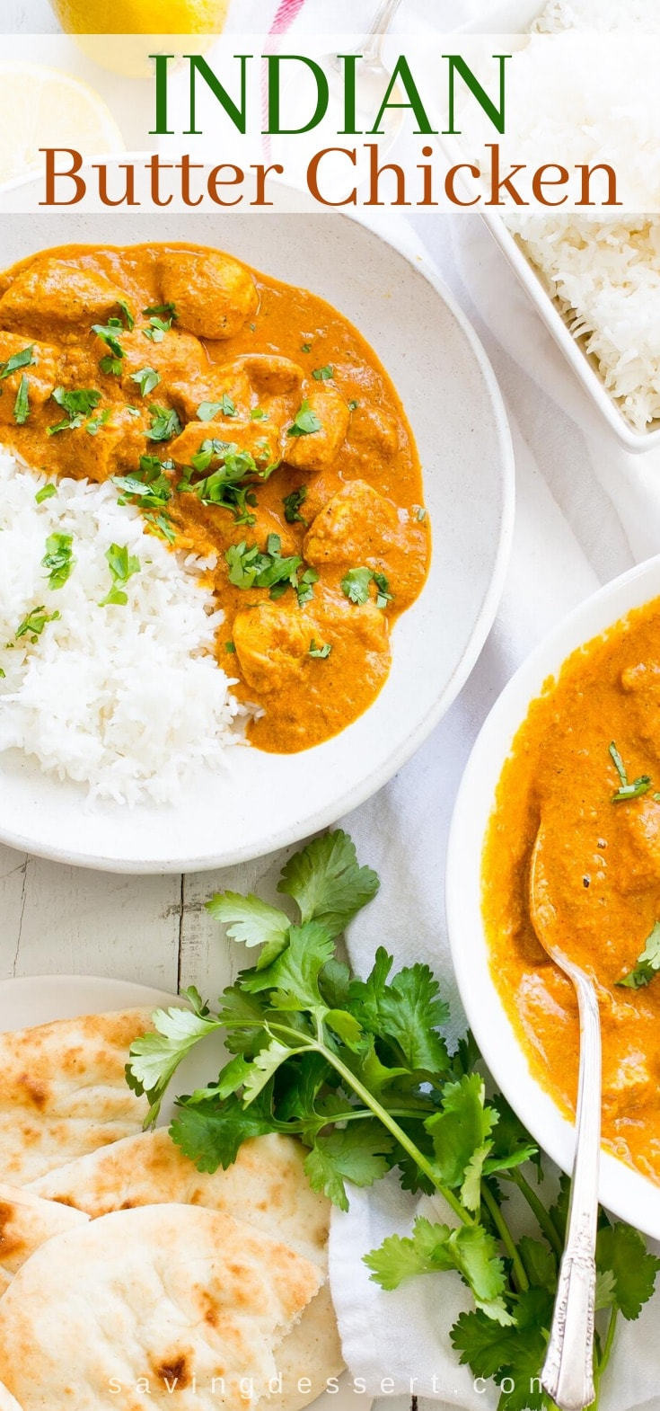 Bowls of Indian Butter Chicken with rice and Naan bread