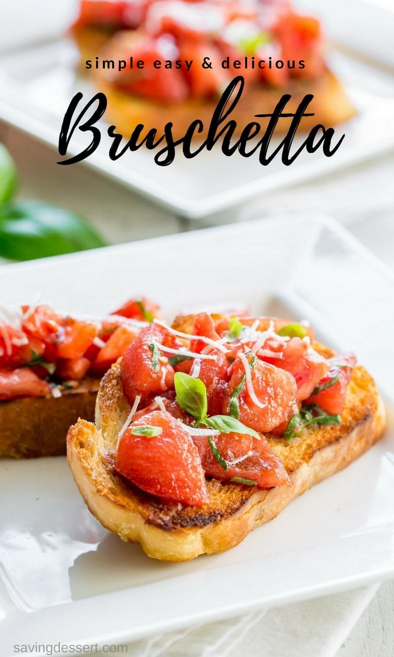Tomatoes, basil, and Parmesan cheese on toasted Italian bread - Bruschetta!
