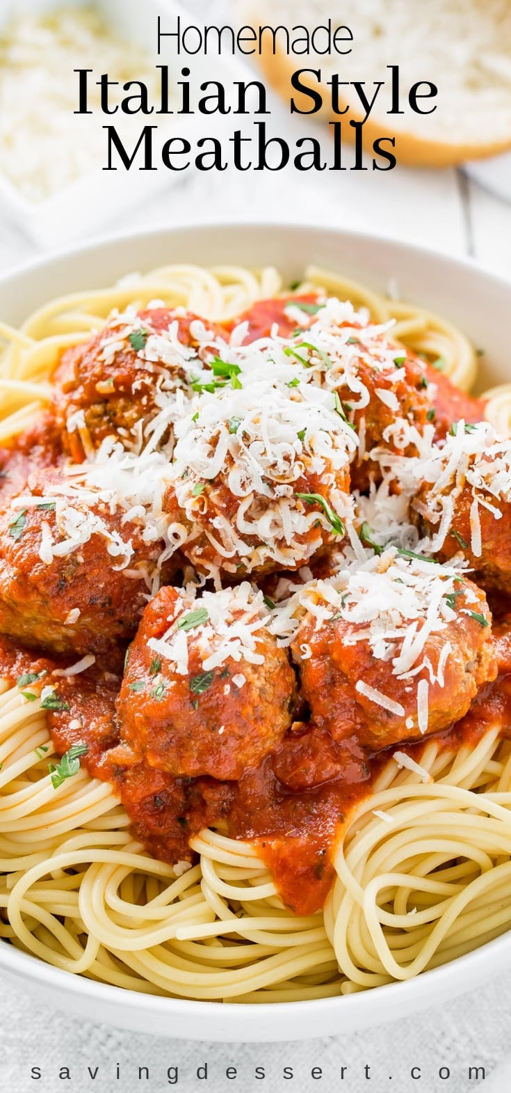 A great Italian Meatball Recipe! They're juicy, tender and delicious, with easy make-ahead and freezable directions too! #meatballs #italianmeatballs #italianmeatballrecipe #italian #spaghettimeatballs #dinner #freezable