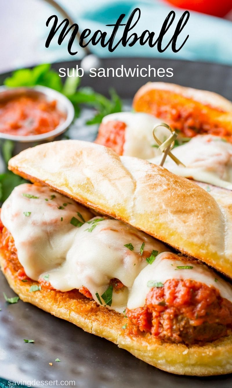 Easy, cheesy and delicious, homemade Meatball Sub Sandwiches are sure to satisfy and so much better than you can get in a fast-food restaurant! #savingroomfordessert #meatball #subsandwich #sandwich #meatballsub #submarinesandwich