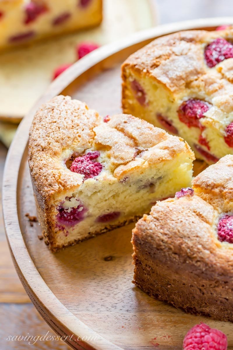 A slice of raspberry ricotta breakfast cake
