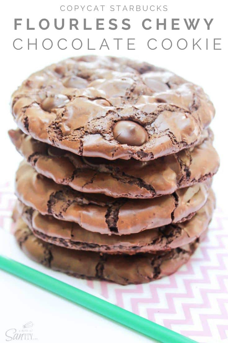 Copycat Starbucks Flourless Chewy Chocolate Cookies in a stack