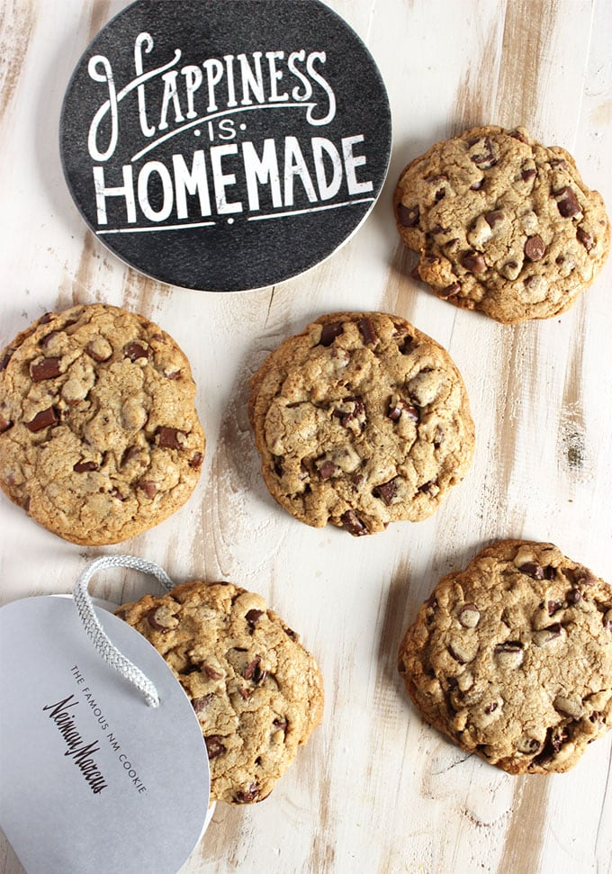 Copycat Neiman Marcus Chocolate Chip Cookies on a board