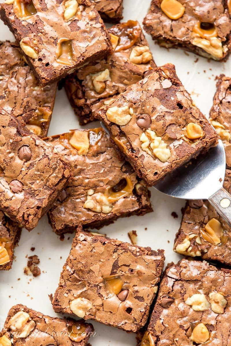 Chocolate brownies with walnuts, chocolate chips and caramel