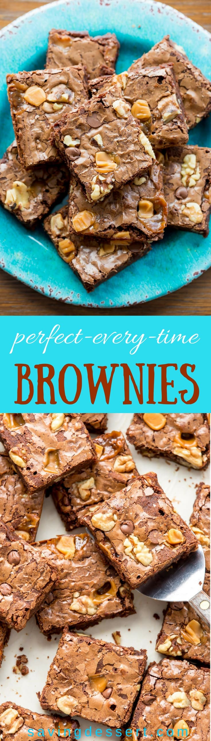 Perfect-Every-Time Brownies from scratch -an easy, rich, fudgy brownie that's perfect served warm from the oven with a scoop of ice cream or tucked in a lunchbox for a wonderful treat! #savingroomfordessert #brownies #easybrownies #homemadebrownies #browniesfromscratch #dessert