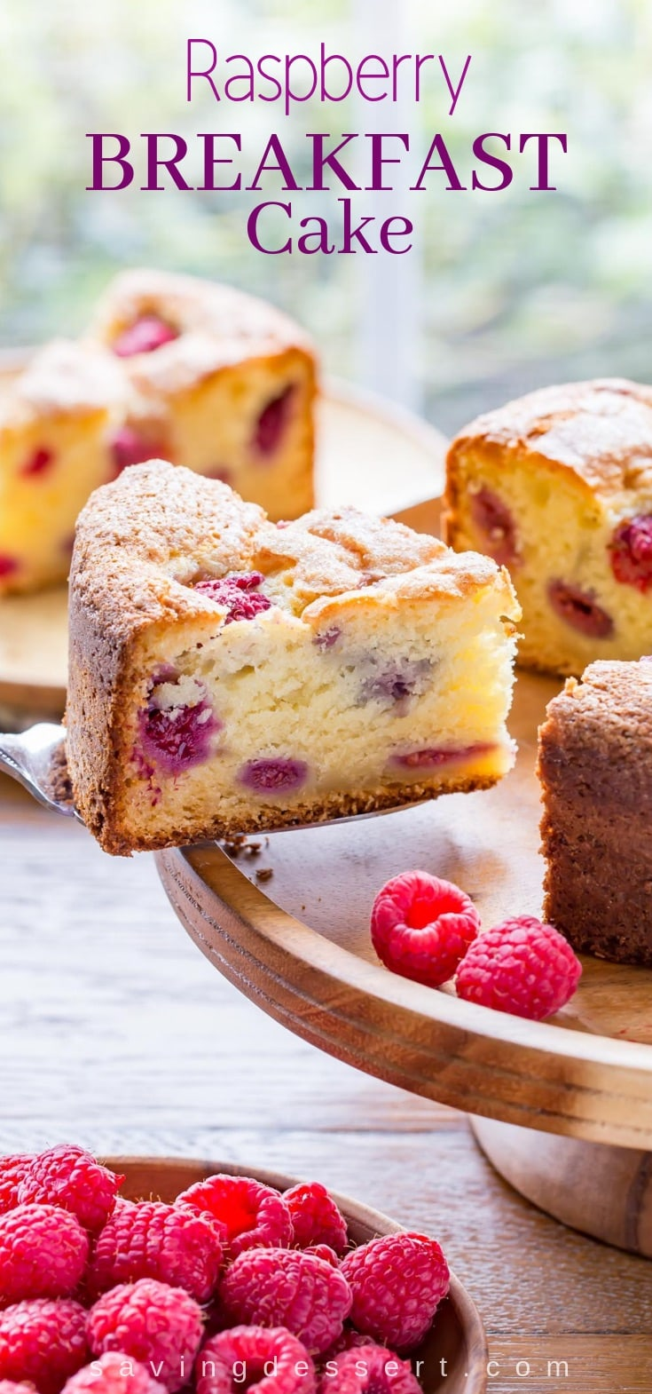 Raspberry Ricotta Breakfast Cake - A deliciously moist and fluffy, berry-streaked breakfast (coffee) cake perfect for dessert, breakfast, brunch, or afternoon tea. #raspberry #ricotta #breakfast #brunch #breakfastcake #coffeecake #raspberrycake