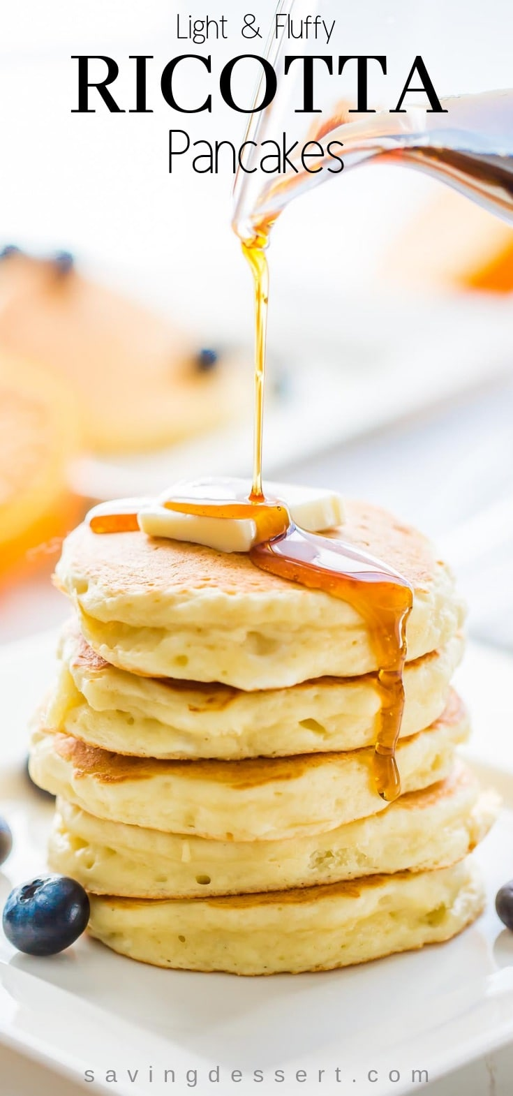 Light & fluffy Ricotta Pancakes with hints of lemon and a fantastic texture to soak up a little syrup. #pancakes #ricotta #ricottapancakes #easypancakes #breakfast #brunch #mothersday #weekend