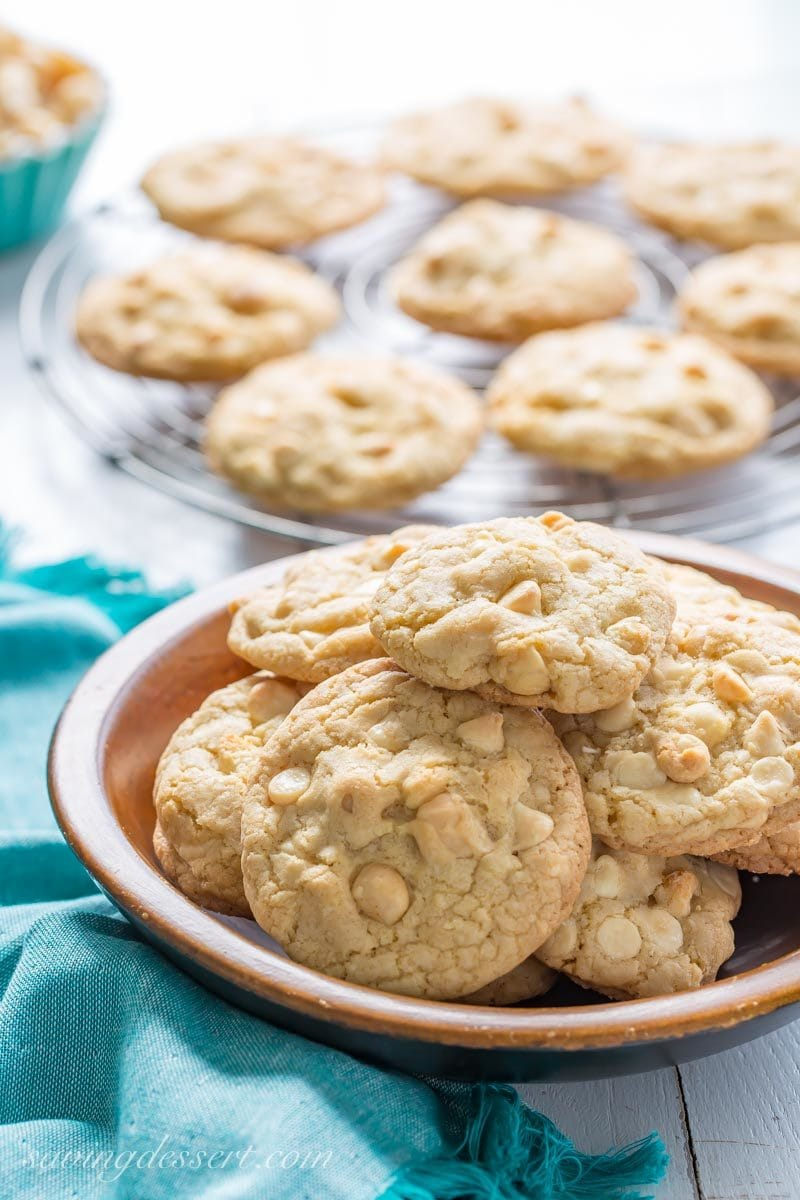 A bowl of white chocolate nut cookies