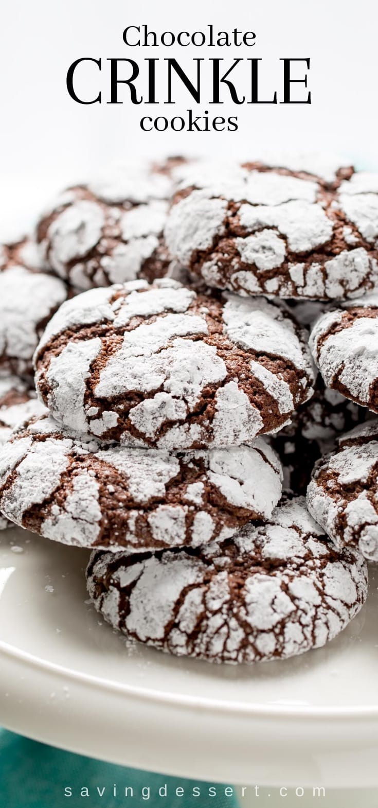 a plate of chocolate crinkle cookies