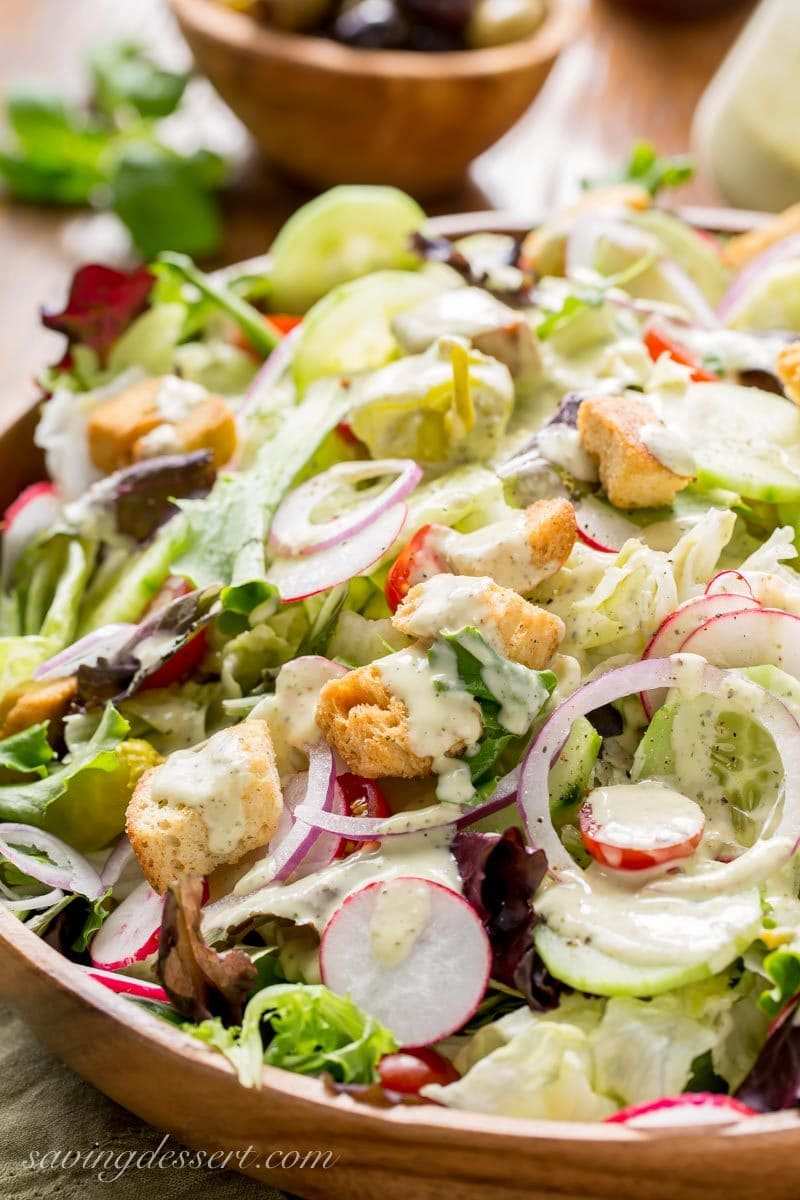 Fresh tossed salad with creamy Italian Dressing