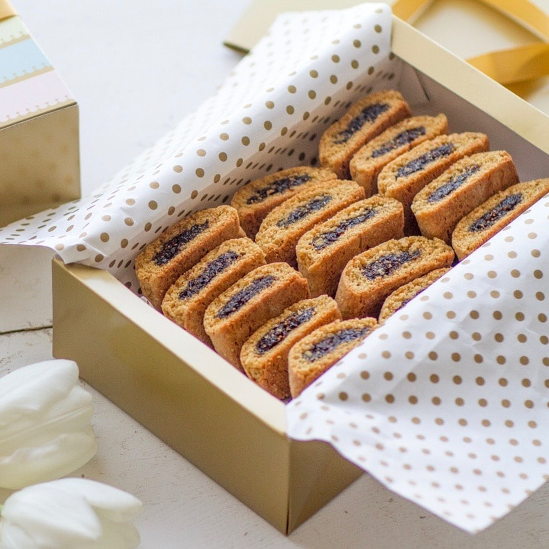 Homemade Fig Newton cookies in a box