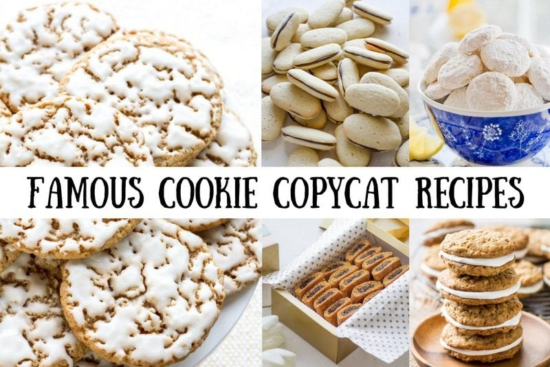 A collage of photos showing copycat famous cookies