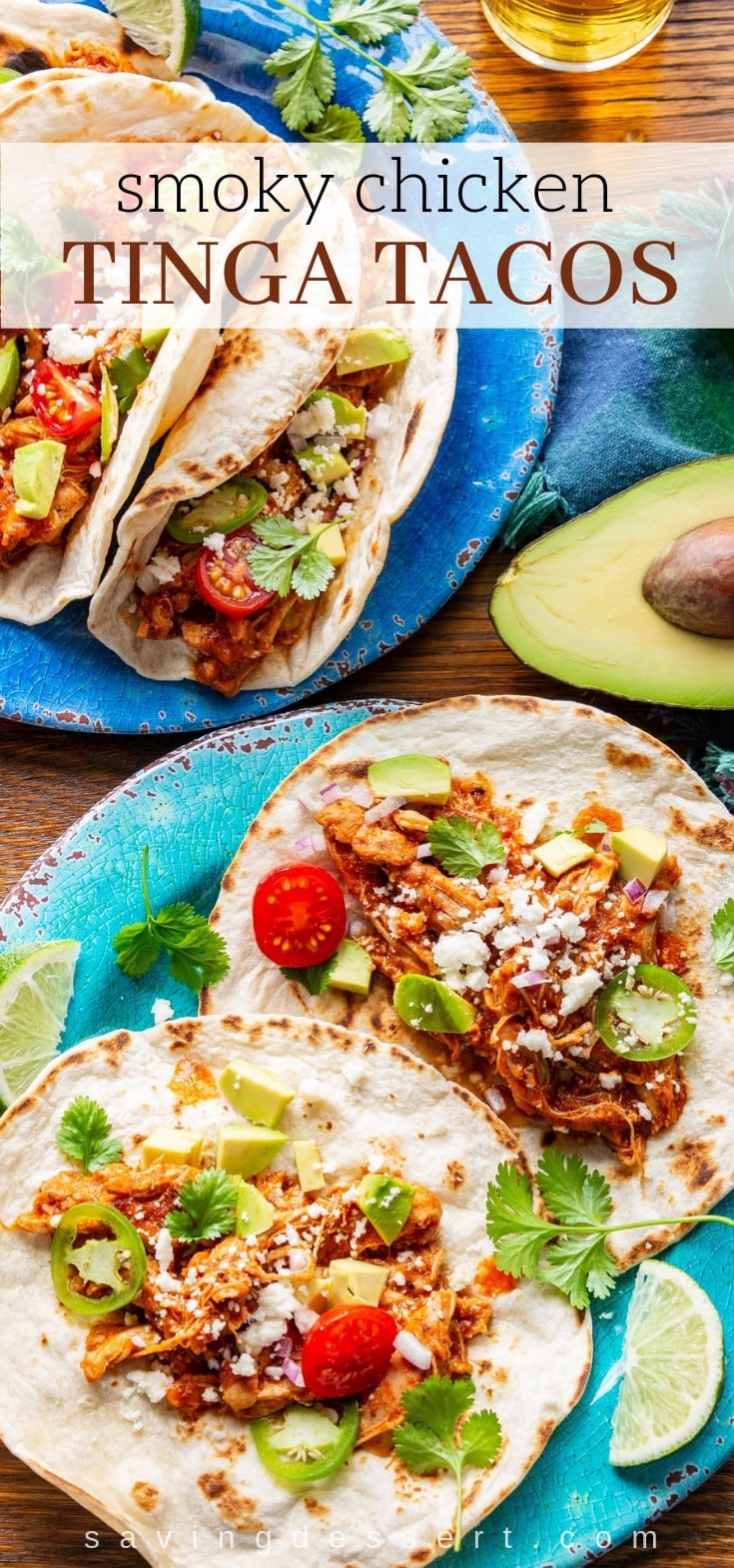Smoky Chicken Tinga Tacos (tinga de pollo) - a flavorful Mexican dish made with fire roasted tomatoes, chipotle chilis in adobo sauce, and tender, shredded chicken. #chickentacos #tacotuesday #tinga #chickentinga #cincodemayo #mexican #adobosauce #chipotle #taco