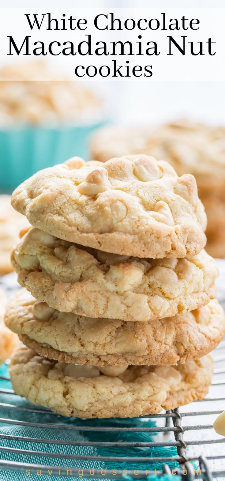 A stack of white chocolate macadamia nut cookies with coconut