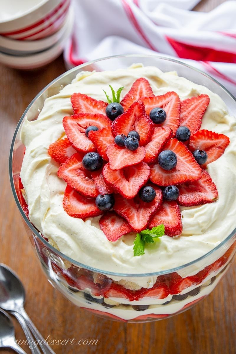 A trifle dessert with strawberries, blueberries, pound cake and vanilla custard