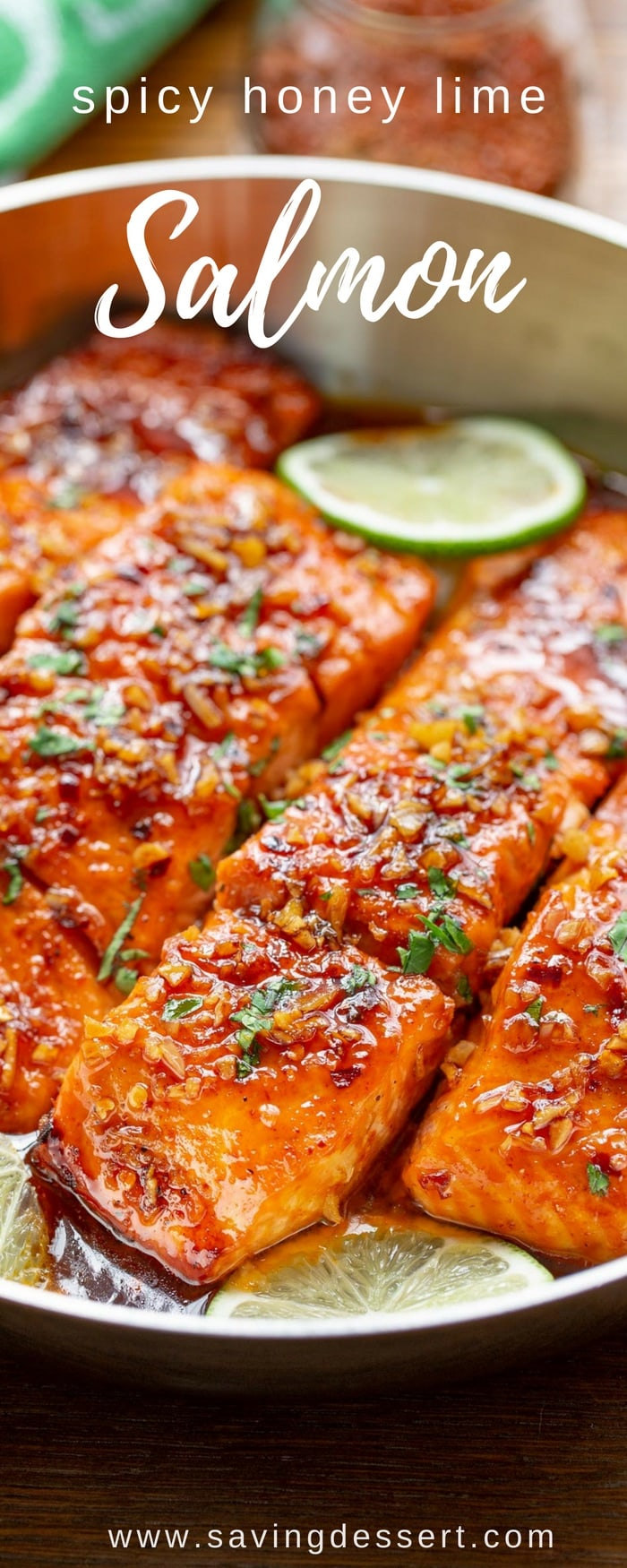 Spicy Honey Glazed Salmon Recipe - easy and quick, this flavorful salmon is seasoned with a spicy dry sriracha blend then sautéed in a honey-lime garlic sauce. #savingroomfordessert #salmon #spicy #easydinner #honeyglazedsalmon #salmondinner #seafood #fish