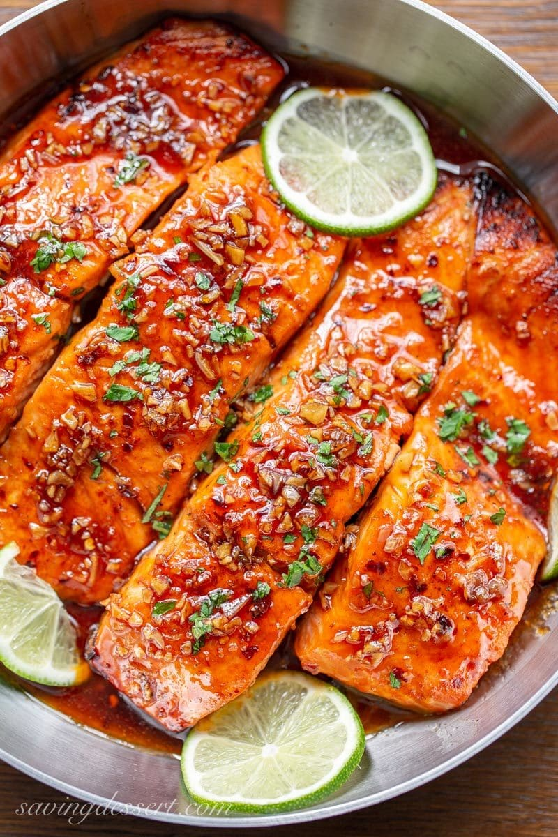 Spicy Honey Glazed Salmon in a honey-lime garlic sauce.