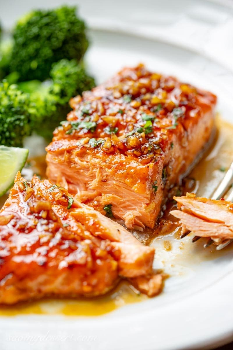 Spicy Honey Glazed Salmon in a honey-lime garlic sauce served with broccoli
