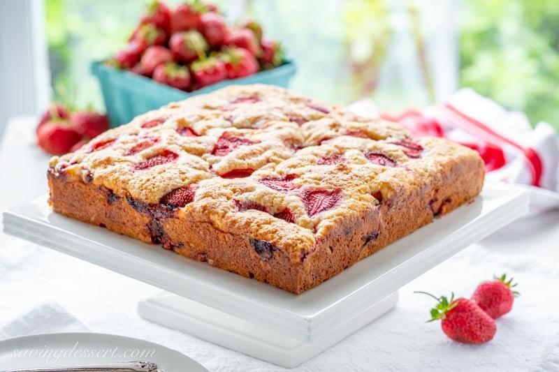 Strawberry Breakfast Cake Saving Room For Dessert