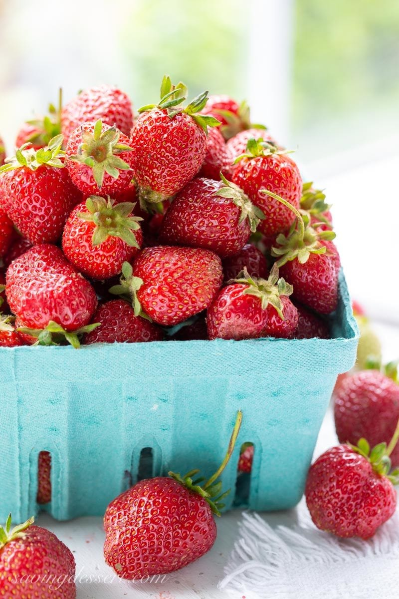 A basket of ripe, fresh picked strawberries