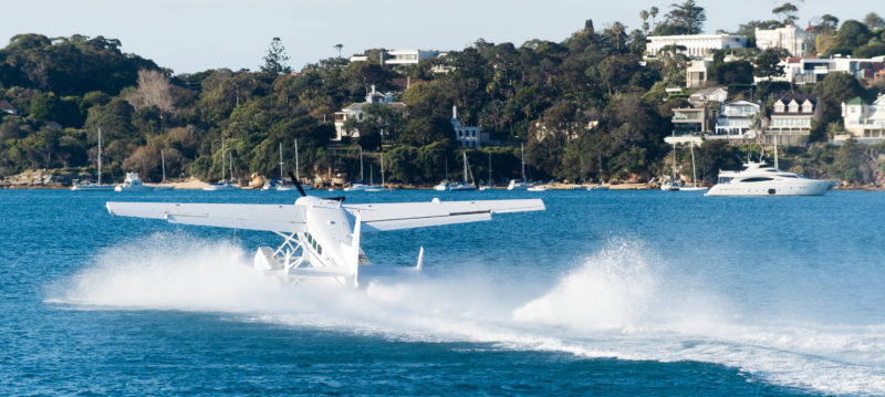 Small plane taking off from the water near Watsons Bay, Sydney Australia