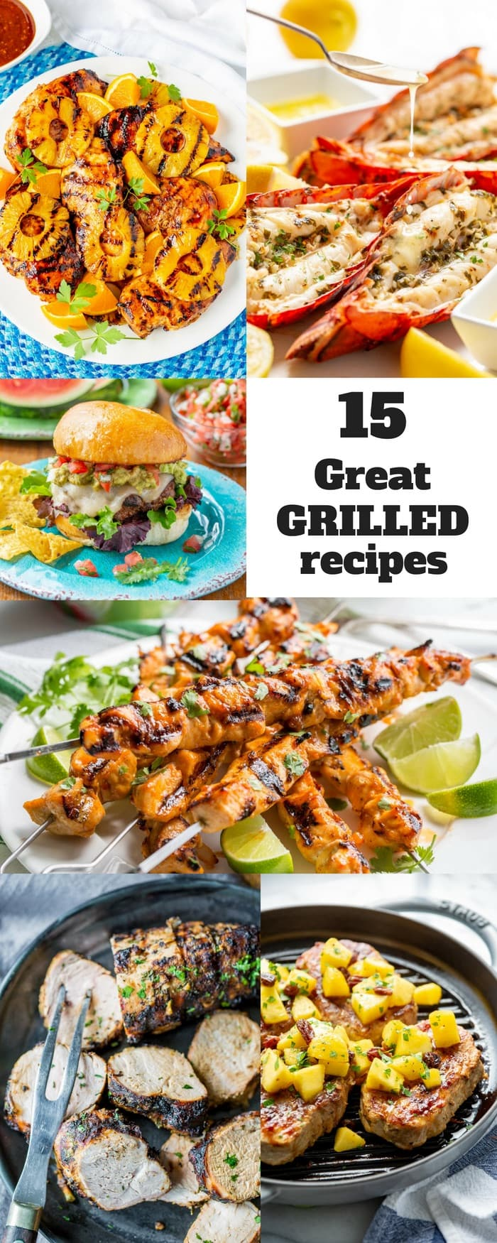 You can never really have enough Great Grilled Recipes! Here are some of our favorites for you to try this summer. From chicken and fish, to pork, beef and even vegetables, we've got you covered! #savingroomfordessert #grilled #grilling #grill #grilledchicken #grilledfish #grilledseafood #grilledpork #grilledbeef #grilledportobello #burgers