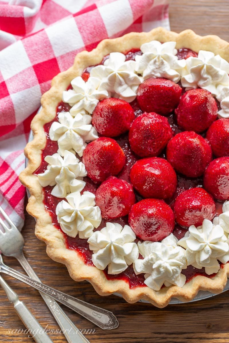 Icebox Strawberry Pie with whipped cream