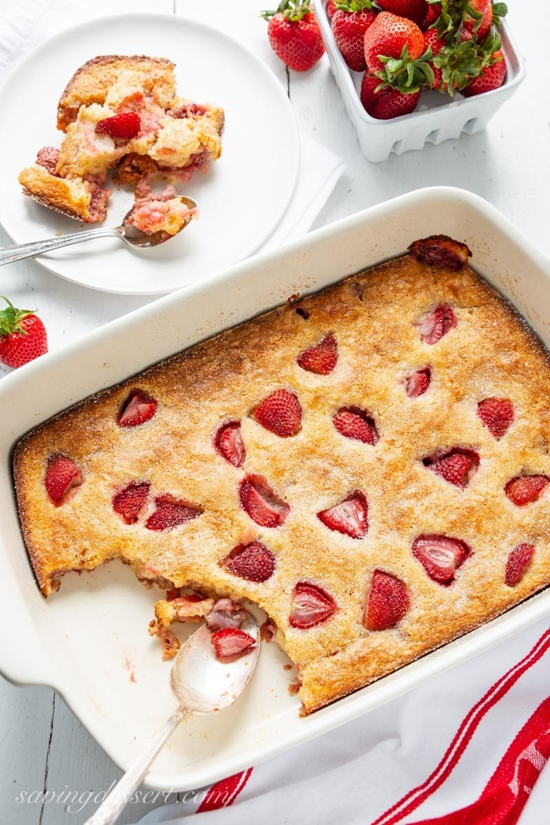 Easy Strawberry Buckle with crispy crust and fresh strawberries