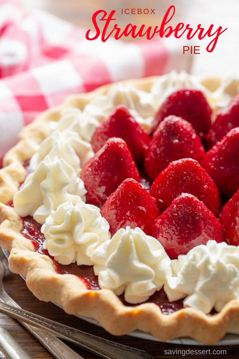 Icebox Strawberry Pie made with plenty of ripe strawberries scooped into a flaky pre-baked pie crust, then topped with lightly sweet whipped cream cheese. #savingroomfordessert #strawberry #strawberrypie #pie #summerpie #iceboxpie #iceboxstrawberrypie