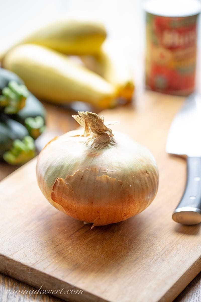 squash, onions, and tomatoes