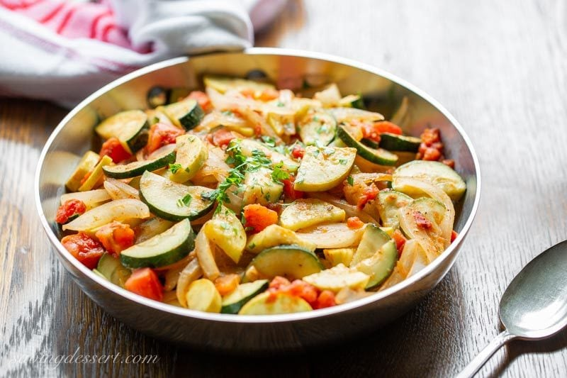 summer squash, zucchini and onions with tomatoes