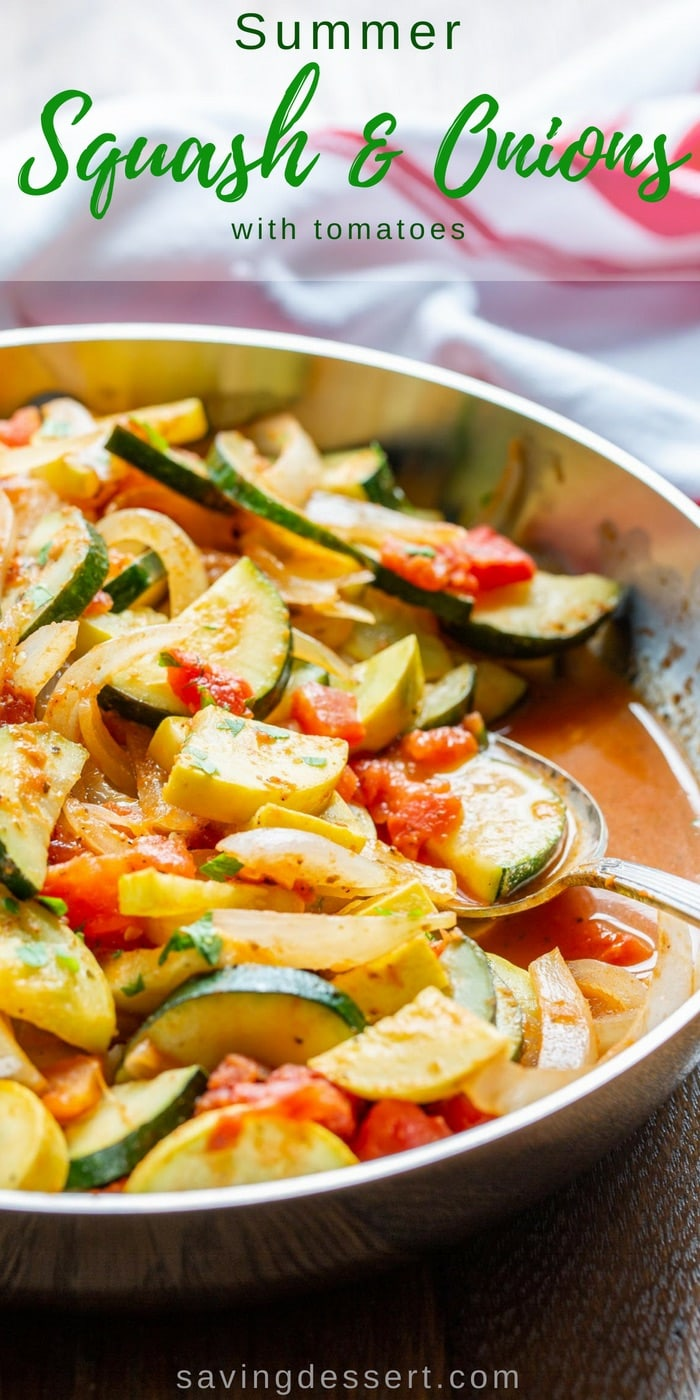Summer Squash & Onions - a simple uncomplicated dish that is healthy, delicious, and the perfect way to enjoy the season's best yellow squash and zucchini. #savingroomfordessert #summersquash #summervegetables #vegetables #yellowsquash #squash #healthysidedish
