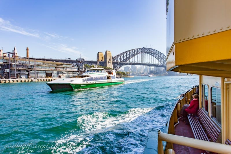 Downtown Sydney Australia, a ferry and the Sydney Harbour Bridge