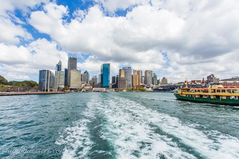 A look back from the ferry toward downtown Sydney