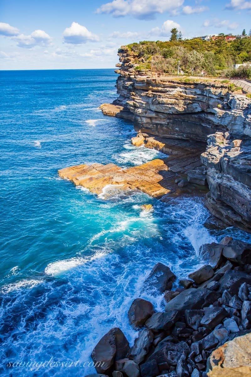 Crashing waves on the walk around Watsons Bay near Sydney Australia