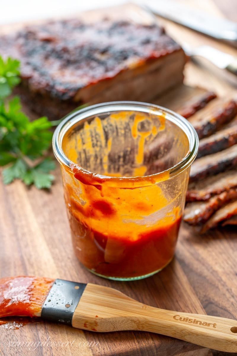 BBQ sauce with thin sliced beef brisket