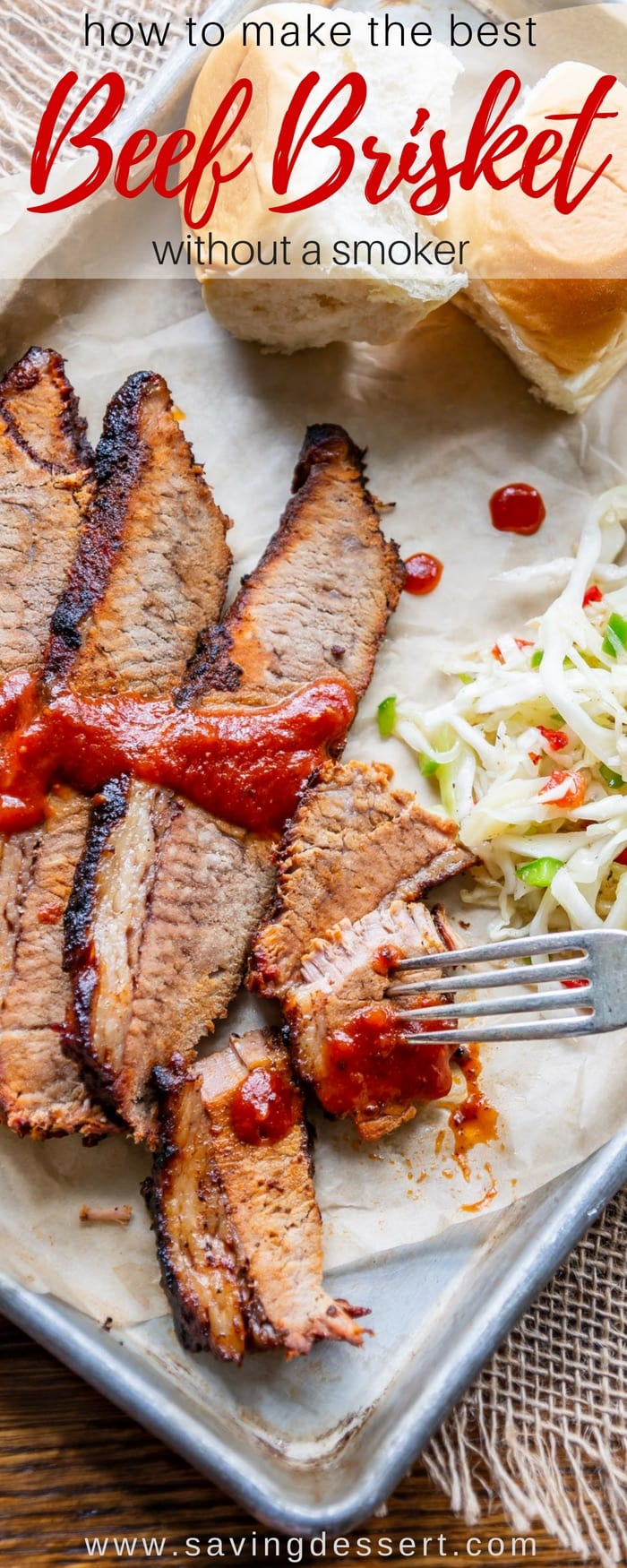 BBQ Brisket Recipe - making delicious, tender, flavorful and juicy BBQ Brisket is easier than you think! If you have a grill and an oven, you're all set. #savingroomfordessert #beef #brisket #brisketrecipes #brisketrecipeoven #beefbrisket #bbqbrisket #BBQ