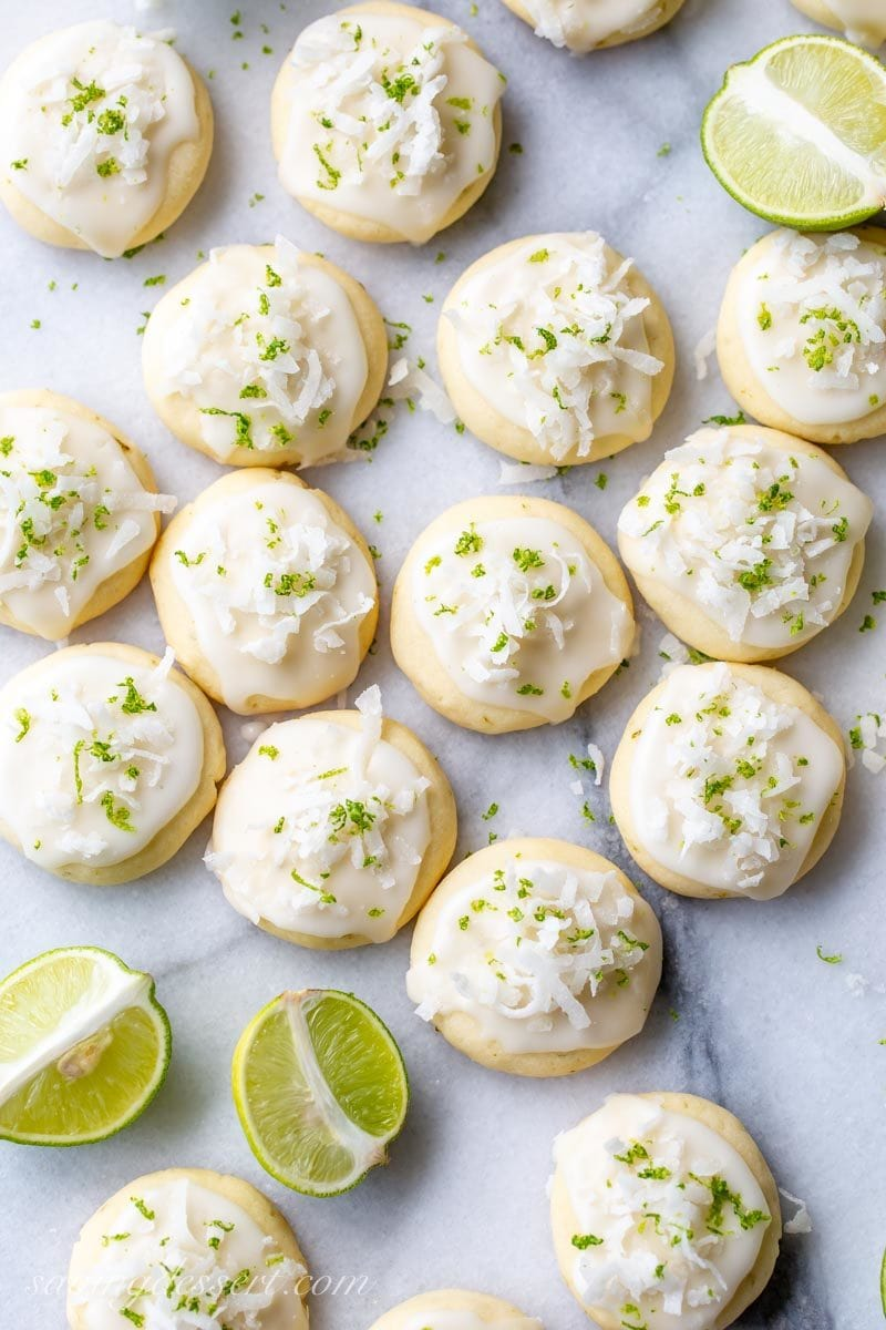 Coconut Key Lime Cookies with key limes, zest and shredded coconut